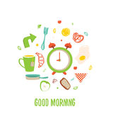 Breakfast time circle banner with Fried egg and alarm clock, tea cup, croissant, apple. Royalty Free Stock Image
