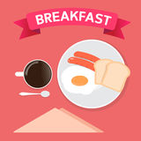 Breakfast time and coffee cup is happiness Royalty Free Stock Image