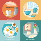 Breakfast time concept icons Royalty Free Stock Photo