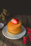 Breakfast Time with Fresh Strawberry on Stack of Pancake , Woode Royalty Free Stock Photo