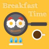 Breakfast time. Fried eggs making process, Stock Images