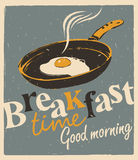 Breakfast time with a frying pan and fried eggs Royalty Free Stock Photo