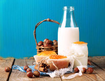Breakfast time (homemade muffins with orange and cinnamon jam, m Stock Photography