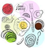 Breakfast time illustration. Doodle hand drawing background Royalty Free Stock Photos