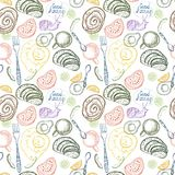 Breakfast time illustration, pattern. Breakfast time illustration, doodle hand drawing, seamless pattern Royalty Free Stock Photo