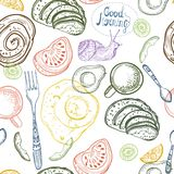 Breakfast time illustration, pattern. Breakfast time illustration, doodle hand drawing, seamless pattern Royalty Free Stock Photography