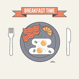 Breakfast time illustration. Table setting, plate with fried egg, bacon and lemon, fork and knife. Breakfast time illustration. Table setting, plate with fried vector illustration