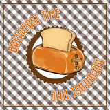 Breakfast time. Image of a retro poster on a vintage background Stock Images