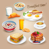 Breakfast time realistic pictograms poster Stock Images