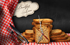 Breakfast Time - Rusks with Clock Stock Image