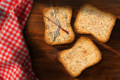 Breakfast Time - Rusks with Clock Stock Photos
