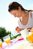 Breakfast time on sunny day Stock Photos