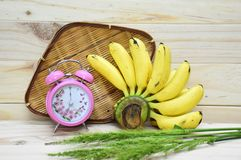 Breakfast time with yellow bananas Stock Photos