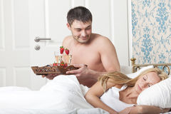 Breakfast to bed stock image