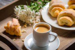 Breakfast to bed with hot coffee and flowers Royalty Free Stock Photography