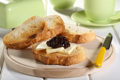 Breakfast toast  butter and fruit jam Royalty Free Stock Images