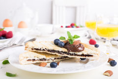 Breakfast toast with chocolate nut paste Stock Image