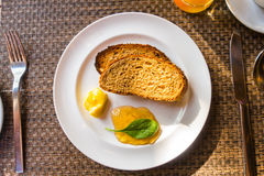 Breakfast with toast and coffee. . Royalty Free Stock Images