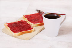 Breakfast toast and a cup of coffee Stock Photos