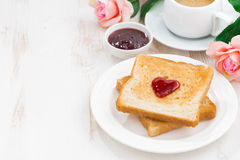 Breakfast with toast and espresso for Valentine's Day Royalty Free Stock Photography