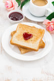Breakfast with toast and espresso for Valentine's Day Royalty Free Stock Images
