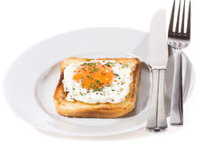 Breakfast with toast with fried egg Royalty Free Stock Photos