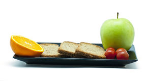 Breakfast with toast and fruit Royalty Free Stock Images