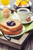 Breakfast with toast Royalty Free Stock Images