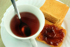 Breakfast with toast and jam Stock Photos