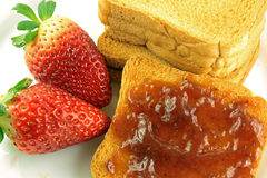 Breakfast with toast and jam Royalty Free Stock Images