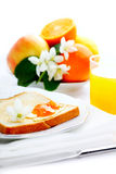 Breakfast with toast, jam and juice. On isolated white background Stock Photos