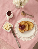 Breakfast of toast and jam Royalty Free Stock Photography