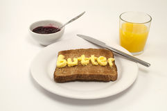 Breakfast toast and orange juice Stock Image