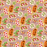 Breakfast toast seamless pattern backgroun slices toasted crust sandwich with butter fried toaster flat cartoon style. Breakfast toast seamless pattern backgroun Stock Images