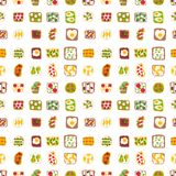 Breakfast toast seamless pattern backgroun slices toasted crust sandwich with butter fried toaster flat cartoon style Royalty Free Stock Image