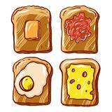 Breakfast toast set. Slices of toast with butter, jam, cheese and fried egg. royalty free illustration