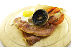 Breakfast and Toast on a Wooden Plate Stock Image