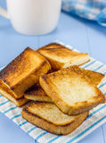Breakfast toasts and coffee. Breakfast toasts with a cup of coffee Royalty Free Stock Images