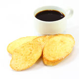 Breakfast with toasts coffee Royalty Free Stock Photos