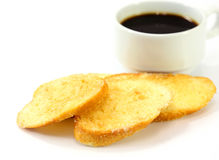 Breakfast with toasts coffee Stock Photo