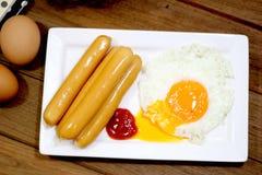 Breakfast - toasts, eggs, bacon Royalty Free Stock Photography