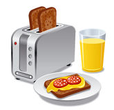 Breakfast with toasts. Illustration of the breakfast with toasts Royalty Free Stock Images
