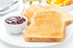 Breakfast with toasts, jam, coffee and orange juice, horizontal Stock Photos