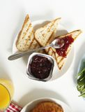 Breakfast. toasts, jam. flat lay stock image