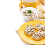Breakfast - toasts with tuna and cheese, coffee Stock Photos