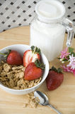 Breakfast on top. Cereal with strawberry for breakfast on top view Stock Photography