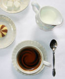 Breakfast. Top view for Breakfast and cups Royalty Free Stock Photography