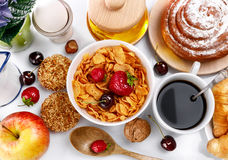 Breakfast top view fresh croissant coffee berry Stock Photos