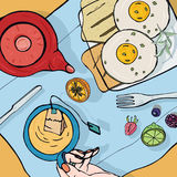 Breakfast top view. Square illustration with luncheon. Healthy, fresh brunch tea, sandwiches, eggs and fruits. Colorful Royalty Free Stock Photos