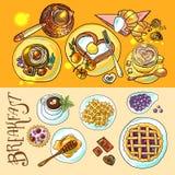 Breakfast top view Stock Photos